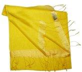 Bees Knees Fashion Flax Edged Large Fine Silk Scarf/ Wrap