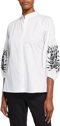 Cotton Poplin Half Placket Shirt w/ Embroidery