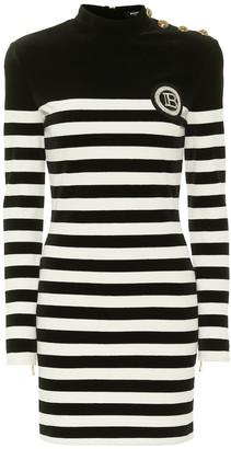 Balmain Appliqued striped velvet minidress