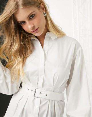 Bershka belted shirt in white