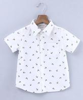 Beebay Boys' Button Down Shirts White - White Anchor Button-Up - Infant, Toddler & Boys