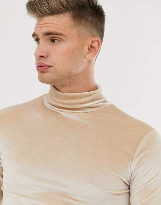 BEIGE Asos Design ASOS DESIGN muscle long sleeve t-shirt in velour with roll neck in