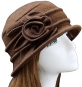 Urban CoCo Women's Floral Trimmed Wool Blend Cloche Winter Hat