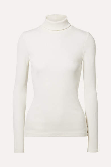 Gold Sign The Rib Stretch Cotton-blend Turtleneck Top - Ivory