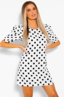 boohoo Polka Dot Print Off The Shoulder Belted Shift Dress