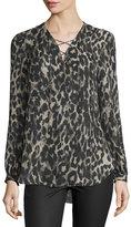 Haute Hippie Long-Sleeve Silk Leopard Blouse, Clinton Leopard