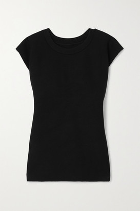 MM6 MAISON MARGIELA Cutout Ribbed Scuba-jersey Top - Black