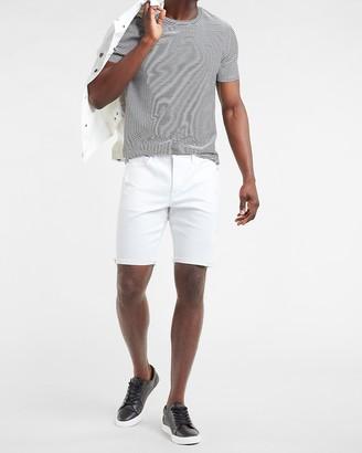 Express White Distressed Hyper Stretch Jean Shorts
