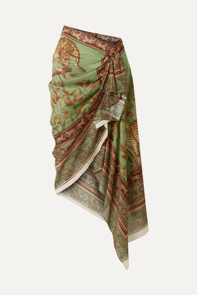 Johanna Ortiz Sheer Magnitude Wrap-effect Ruffled Printed Cotton-voile Midi Skirt - Light green