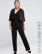 Club L Plus Jumpsuit With Cape Overlay