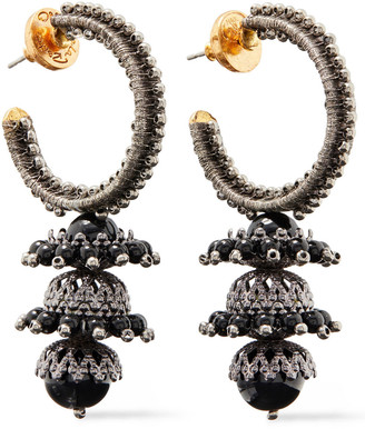 Oscar de la Renta Embroidered Gold-tone, Bead And Faux Pearl Earrings