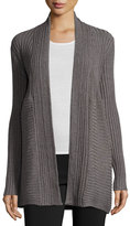 Neiman Marcus Cable-Stitch Open-Front Cardigan, Charcoal