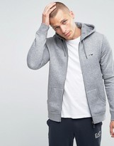 Armani Jeans Zip Up Hoodie with Logo In Gray