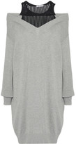 Alexander Wang Layered Open-knit And Cotton-blend Mini Dress - Gray