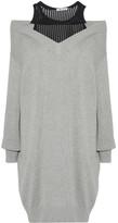 Alexander Wang Layered Open-knit And Cotton-blend Mini Dress - Gray