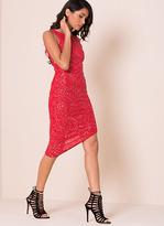 Missy Empire Alia Red Glitter Asymmetric Bodycon Dress