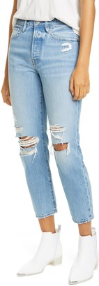 Frame Le Original Ripped High Waist Ankle Skinny Jeans