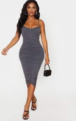 PrettyLittleThing Shape Charcoal Rib Ruching Cup Detail Midi Dress