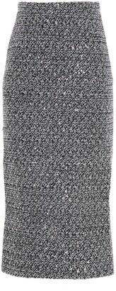 Alessandra Rich Tweed Midi Pencil Skirt