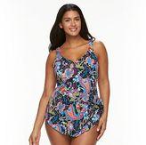 Apt. 9 Plus Size Paisley Overlay One-Piece Swimsuit