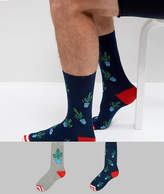 Asos Socks With Christmas Cactus Design & Candy Cane Toes 2 Pack