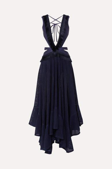 PatBO Cutout Fringed Jersey And Cotton-blend Lace Maxi Dress - Navy