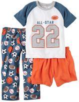 "Carter's Baby Boy All-Star"" Tee, Shorts & Pants Pajama Set"