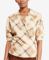 Lauren Ralph Lauren Petite Plaid Crepe Wrap Shirt
