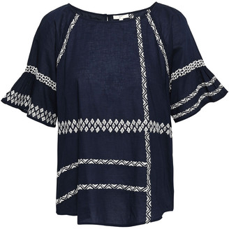 Joie Shoffie Embroidered Cotton-voile Blouse