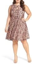 Gabby Skye Plus Size Women's Floral Print Lace Fit & Flare Dress