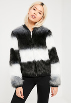 Missguided Black Striped Faux Fur Jacket
