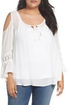Bobeau Plus Size Women's Cold Shoulder Blouse