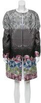 Talbot Runhof Jacquard & Brocade-Paneled Ombré Coat w/ Tags