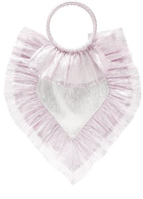 The Vampire's Wife Ruffle-trimmed Woven Clutch - Womens - Pink Silver