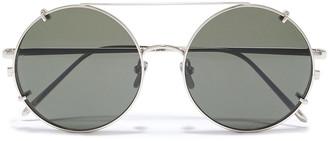 Linda Farrow Round-frame Silver-tone Sunglasses