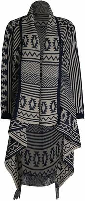 Loxdonz Women's Aztec Print Open Front Long Sleeve Knitted Boyfriend Cardigan Sweaters - blue - Large