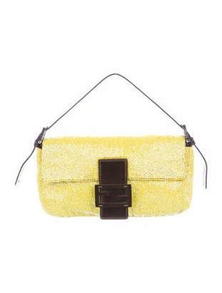 Fendi Leather-Trimmed Beaded Baguette Brown