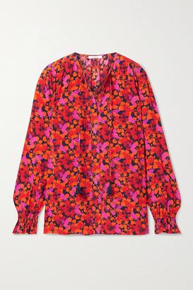 Derek Lam 10 Crosby Aria Smocked Floral-print Crepe Blouse - Pink