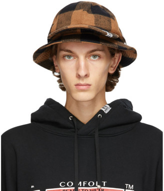 Miharayasuhiro Black and Brown Wool Check Bucket Hat Cap