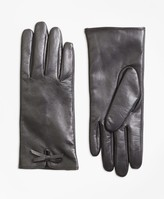 Brooks Brothers Bow-Trimmed Leather Gloves