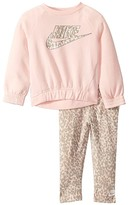 Nike Sportswear Leopard Long Sleeve T-Shirt and Leggings Two-Piece Set (Toddler) (Echo Pink) Girl's Active Sets