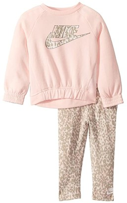 Nike Kids Sportswear Leopard Long Sleeve T-Shirt and Leggings Two-Piece Set (Toddler) (Echo Pink) Girl's Active Sets