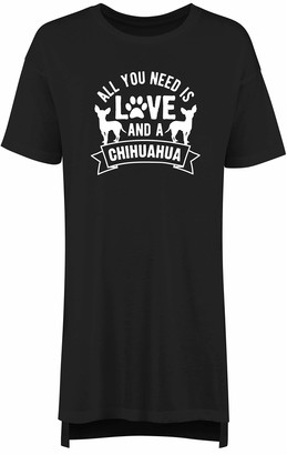 Hippowarehouse All You Need is Love and a Chihuahua Women's Printed Adults Nightie Nightdress Black
