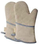 Honla Kitchen Honeycomb Silicone Cooking Gloves-Heat Resistant Oven Mitts for Grilling,BBQ,Baking-Quilted Cotton&Terry Cloth Lining Pan/Pot Holders,Tan/Khaki,1 Pair Protective Potholders,13-Inch