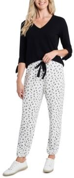 CeCe Floral-Print Drawstring Pants