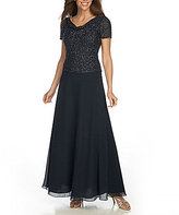 J Kara Plus Beaded Chiffon Gown