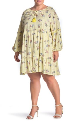 Love, Fire Tiered Floral Print Dress (Plus Size)