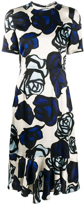 Marni Roma-print ruffled-hem dress