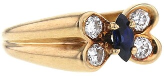 Van Cleef & Arpels 1980s Pre-Owned Yellow Gold Butterfly Sapphire And Diamond Ring