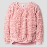 Xhilaration Girls' Faux Fur Pullover Top Blush XS